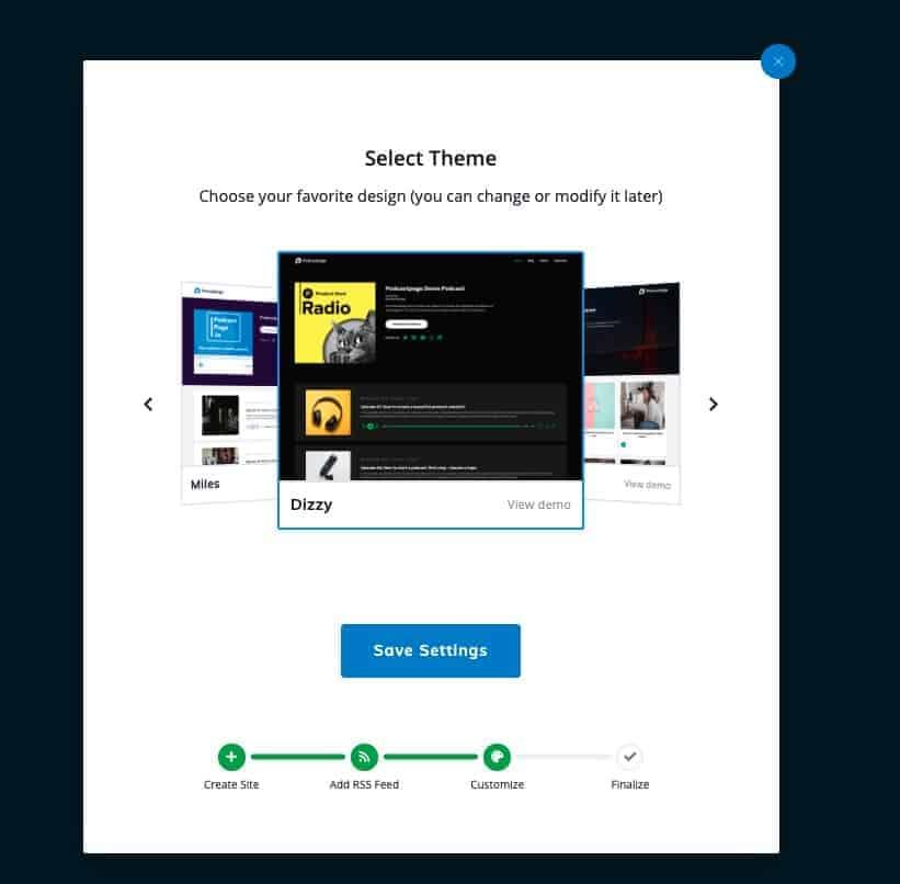 Podcastpage Select a Website Theme