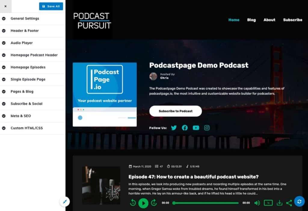 Podcastpage Customize Page like WordPress